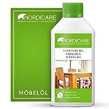 Nordicare Möbelöl [500ml] Holzöl zur Pflege farblos für Eiche, Buche, Nussbaum, Lärche. Holzlasur auf Basis von Leinöl. Leinölfirnis
