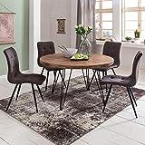 FineBuy Design Esszimmertisch BAGLI rund Ø 120 x 78 cm Sheesham Massiv-Holz | Landhaus Esstisch braun | Tisch für Esszimmer Küchentisch 4 Personen