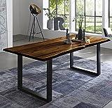 SAM Esszimmertisch 180x90 cm Quintus, echte Baumkante, nussbaumfarben, massiver Esstisch aus Akazienholz, Metallbeine schwarz, Baumkantentisch